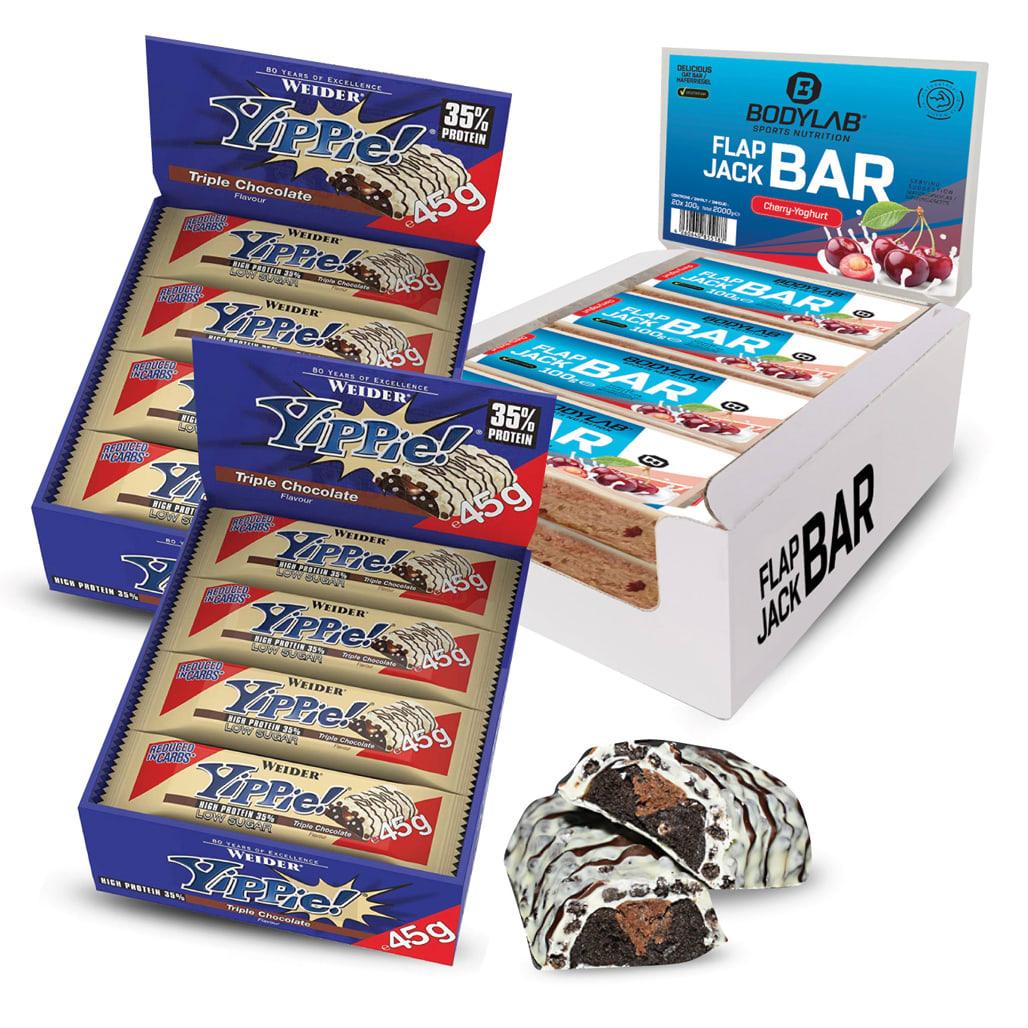 Riegel-Paket: 24x 45g Weider Yippie! Bar (Triple Chocolate, MHD 30.06.) + 20x 100g Bodylab Flap Jack Bar (4 Sorten, MHD 15.06.)
