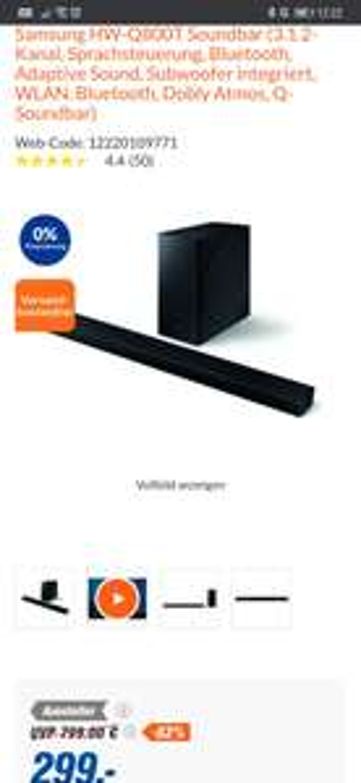 Aussteller - Samsung HW-Q800T 3.1.2-Kanal, Sprachsteuerung, Bluetooth, Subwoofer, WLAN, Bluetooth, Dobly Atmos, Q-Soundbar, EARC (eff. 290€)