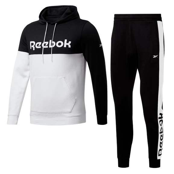 Reebok Jogginganzug Essentials Linear Logo schwarz/weiß (nur noch Gr. S)