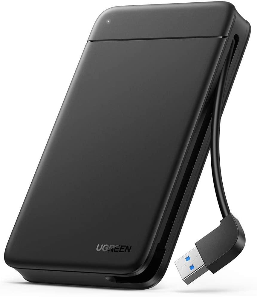 """[Prime] Ugreen 80555 Festplattengehäuse (für 2.5"""" HDDs/SSDs bis 9.5mm, bis 5Gbit/s, USB-A 3.0-Kabel integriert, werkzeuglose Montage)"""