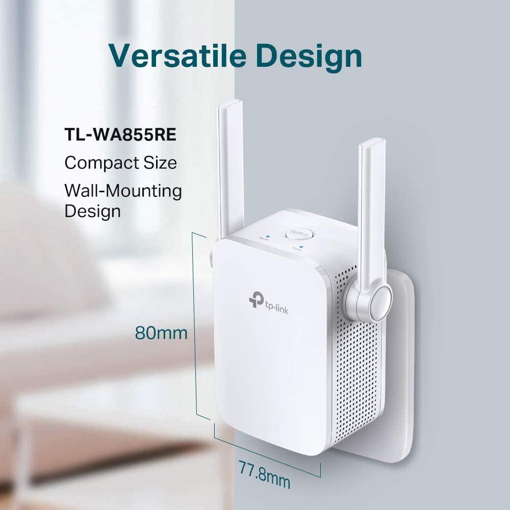 TP-Link TL-WA855RE WLAN Repeater (300 Mbit/s, WLAN Verstärker, App Steuerung, Port, 2x flexible externe Antennen, WPS, AP Modus)