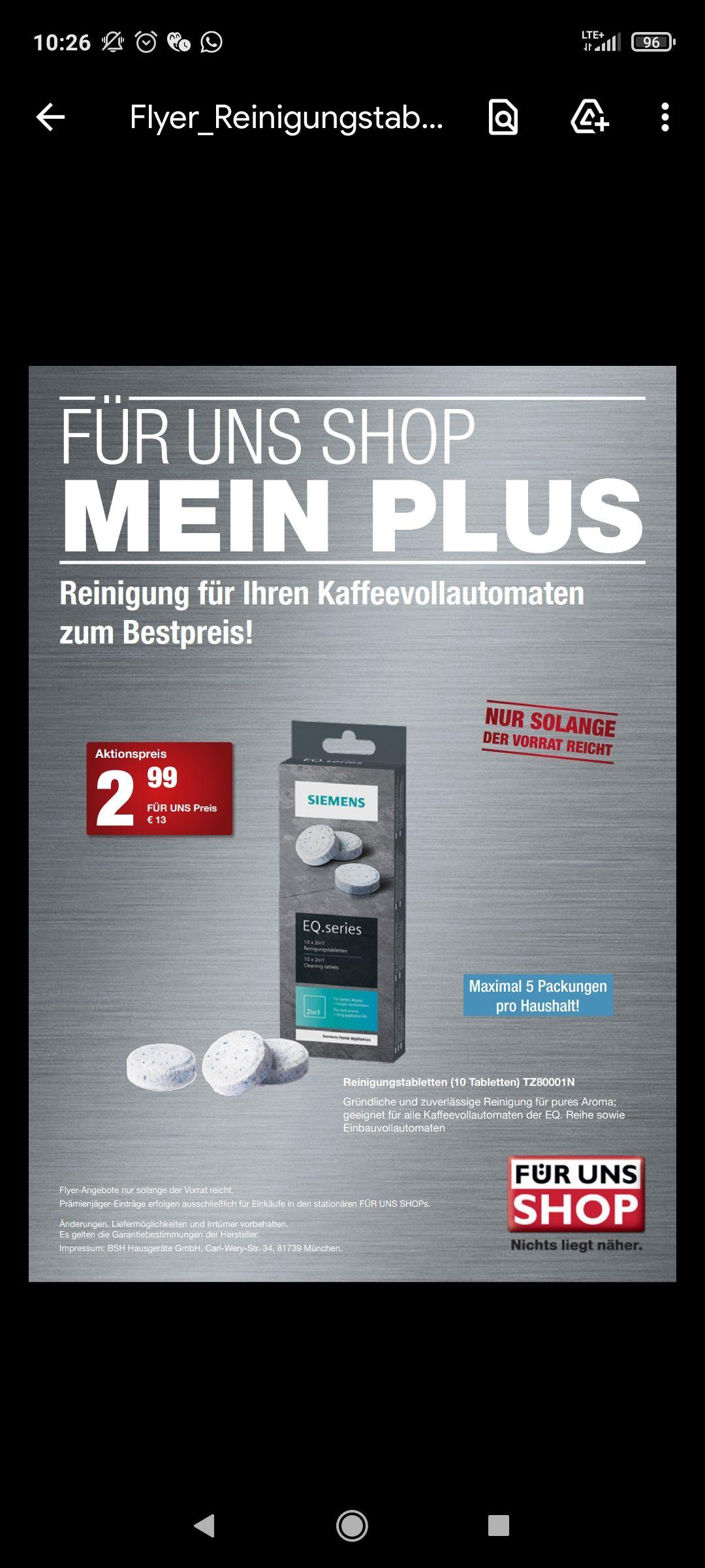 Siemens EQ Reinigungstabletten Für uns Shop