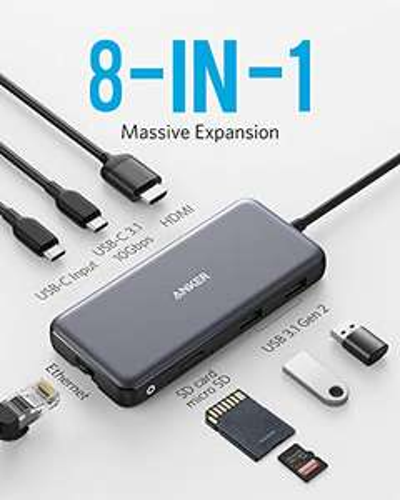 Anker 8-in-1 USB-C Hub mit 10Gbps, PD, Ethernet, HDMI 4K 60Hz, USB-A, SD, MicroSD (Prime)