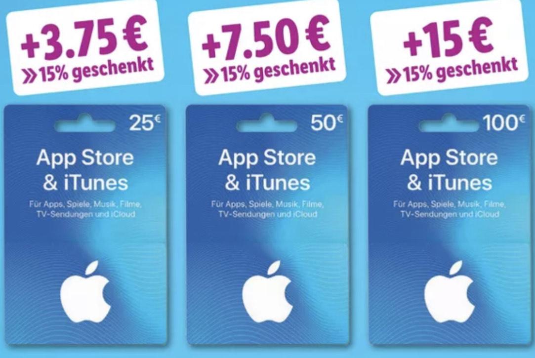 App Store & iTunes Guthaben (+15% Bonusguthaben ab 25€) [Lidl]