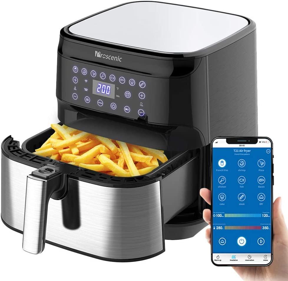 (UK-Stecker) Proscenic Heißluftfritteuse mit App, Fritteuse Aerofryer 5,5L XXL, 1700W mit LED Display, Vorheizen, Time, Warmhalten, ohne Öl