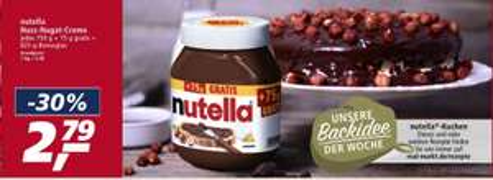 Nutella 750g + 75g Gratis Bonusglas (Real)