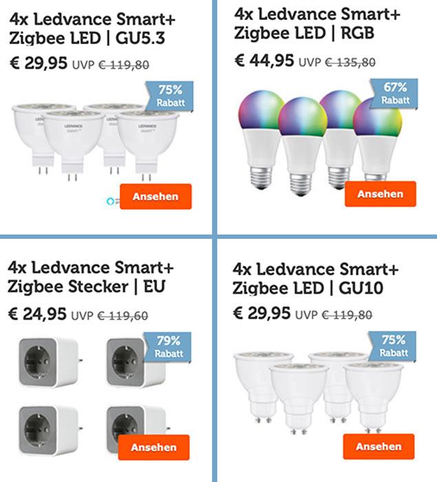 4x Osram Lightify / Ledvance Smart+ Zigbee Lampen GU10, GU5.3 + Steckdosen!