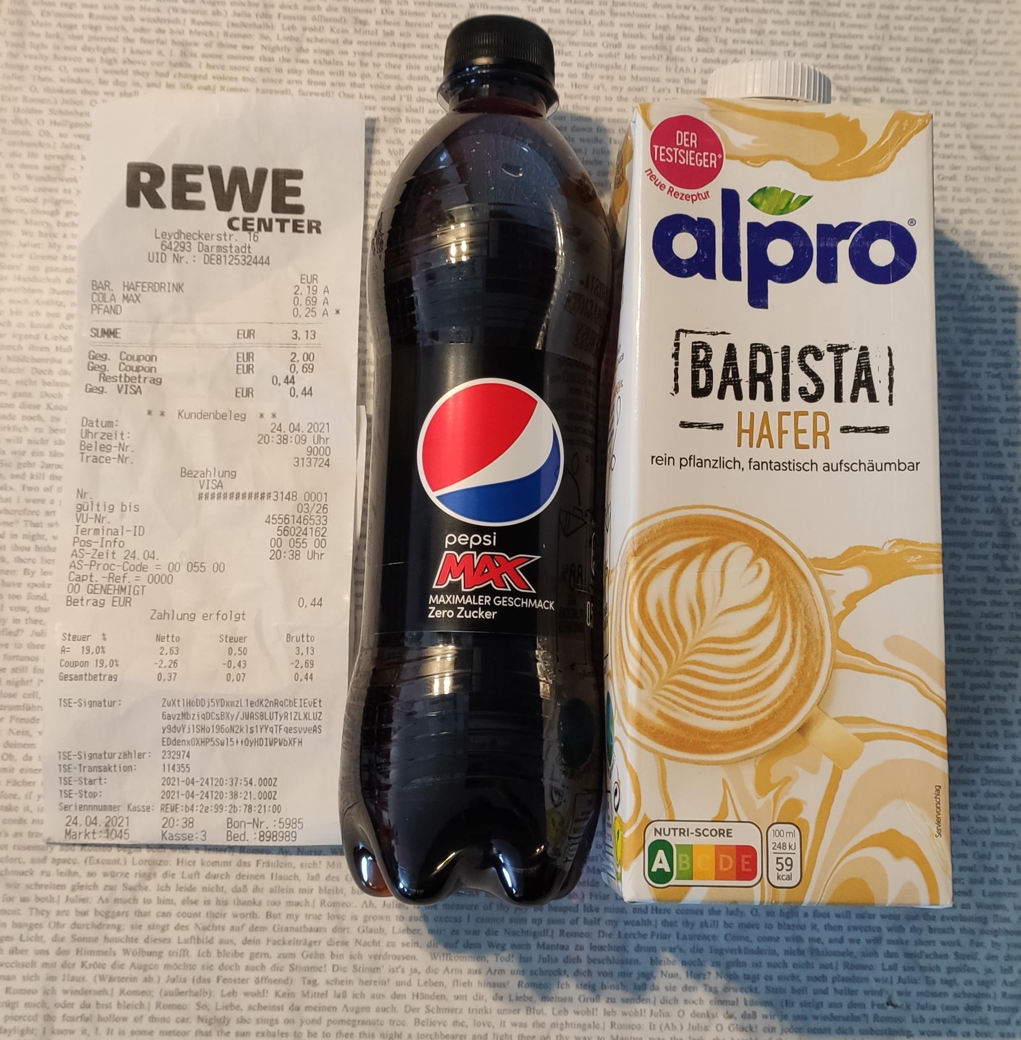 [REWE] alpro Barista Hafer Drink 1-Liter für 0,19€