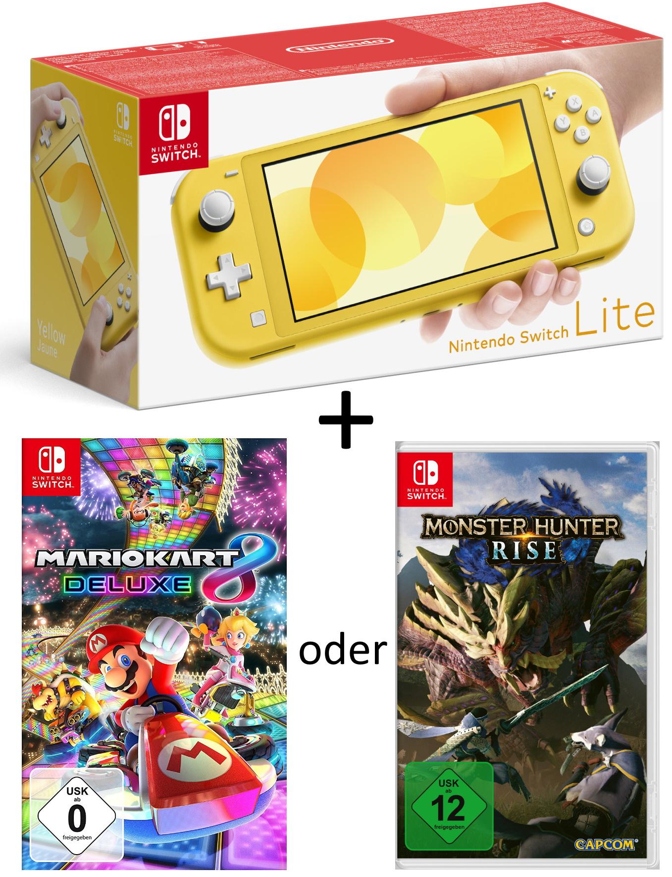 GDD Gaming: z.B. Nintendo Switch Lite gelb im Bundle mit Mario Kart 8 Deluxe oder (!) Monster Hunter Rise für 209,99€