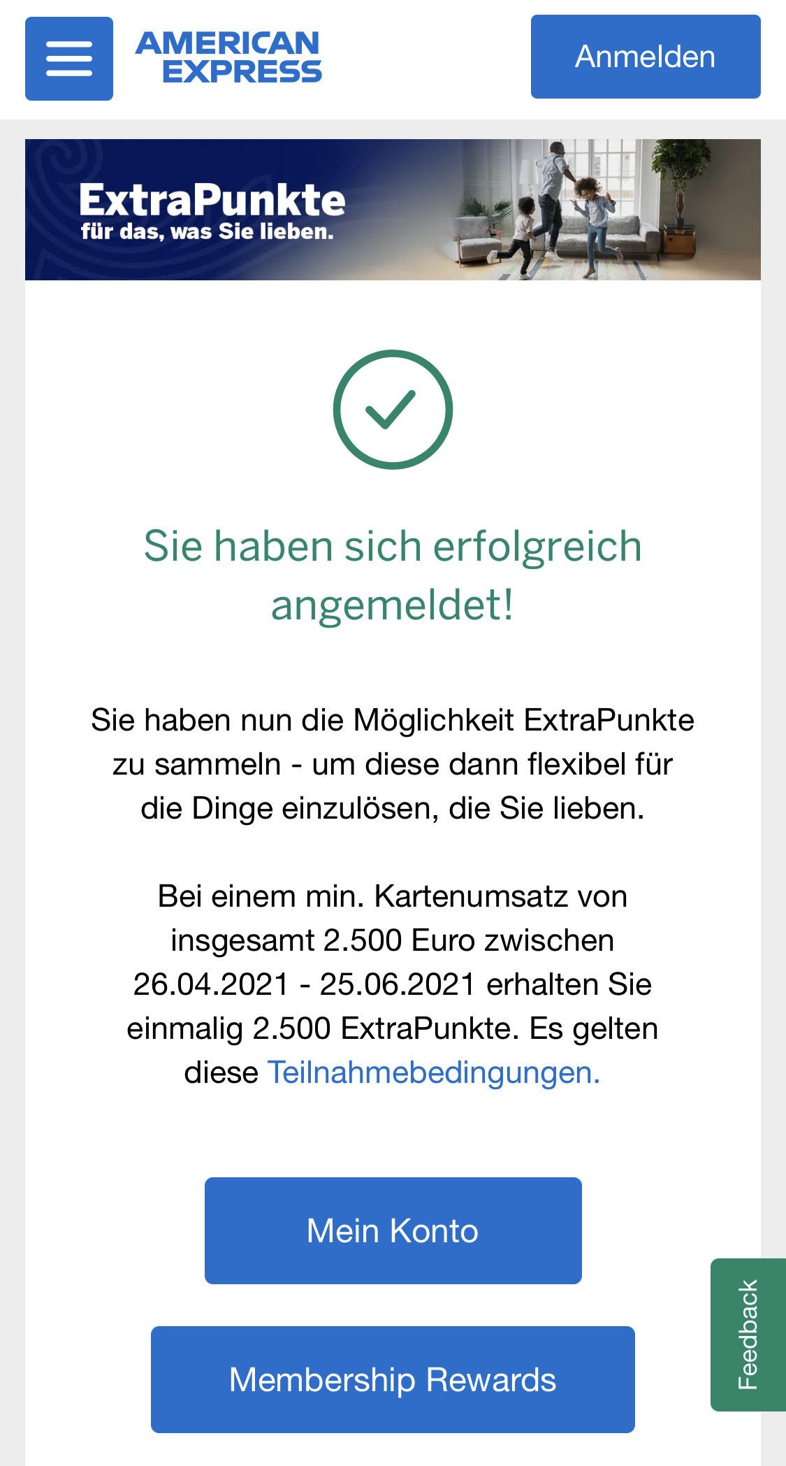 [AmEx] 2.500 zusätzliche MRP bei 2.500€ Umsatz