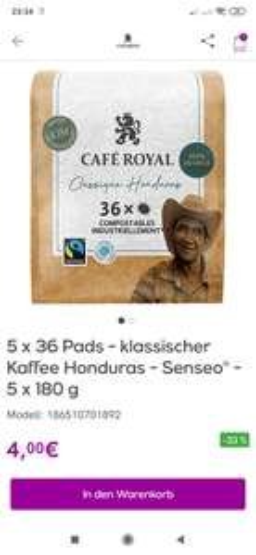 """"""" Preisfehler """" Café Royal Classique Honduras 50x36 Pads für Senseo"""