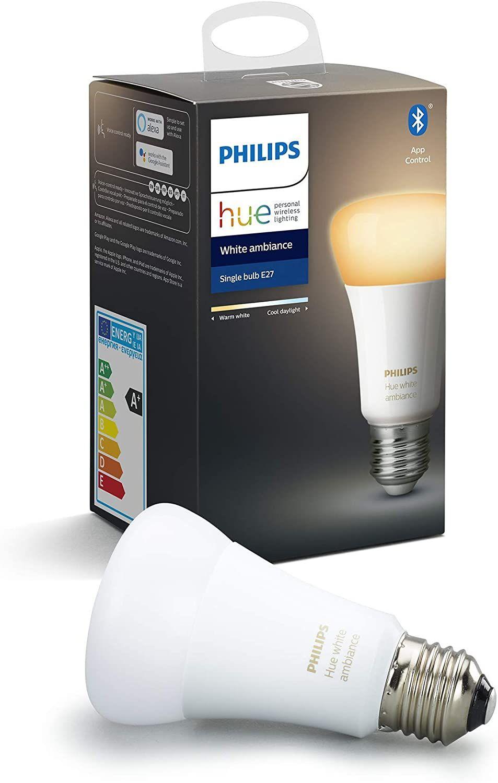 Philips Hue E27 White Ambiance Einzelpack - alle Weißtöne - aktuelle Version mit Bluetooth [Amazon Prime]