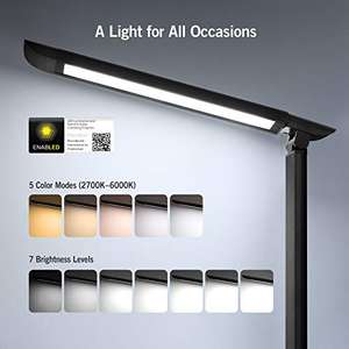 [Amazon] TaoTronics Schreibtischlampe LED Tischleuchte 5 Farb, 7 Helligkeitsstufen, dimmbar, USB-Anschluss, Touchfeldbedienung