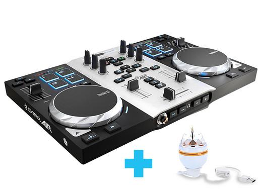 Hercules DJ Control Air S DJ-Controller (2-Deck DJ Controller, Air Control, 8 Pads, integr. Soundkarte) + LED-Partyleuchte