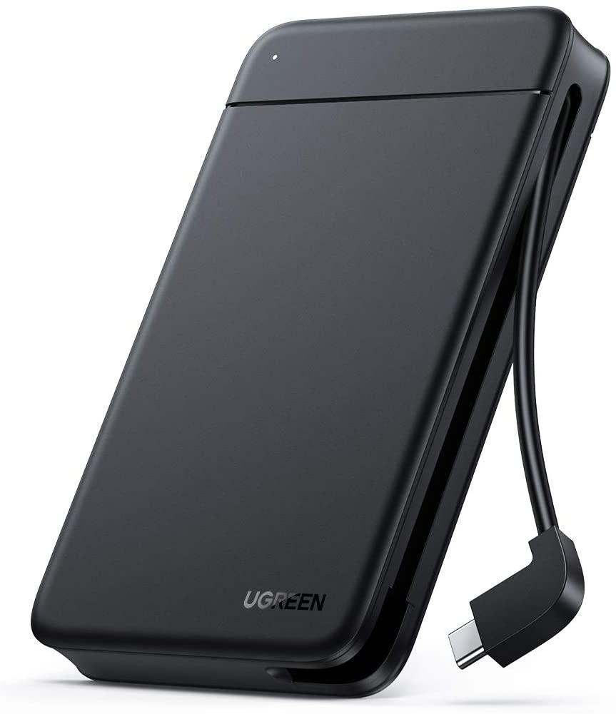 """[Prime] Ugreen 10904 Festplattengehäuse (für 2.5"""" HDDs/SSDs bis 9.5mm, integriertes USB-C-Kabel bis 5Gbit/s, werkzeuglose Montage)"""