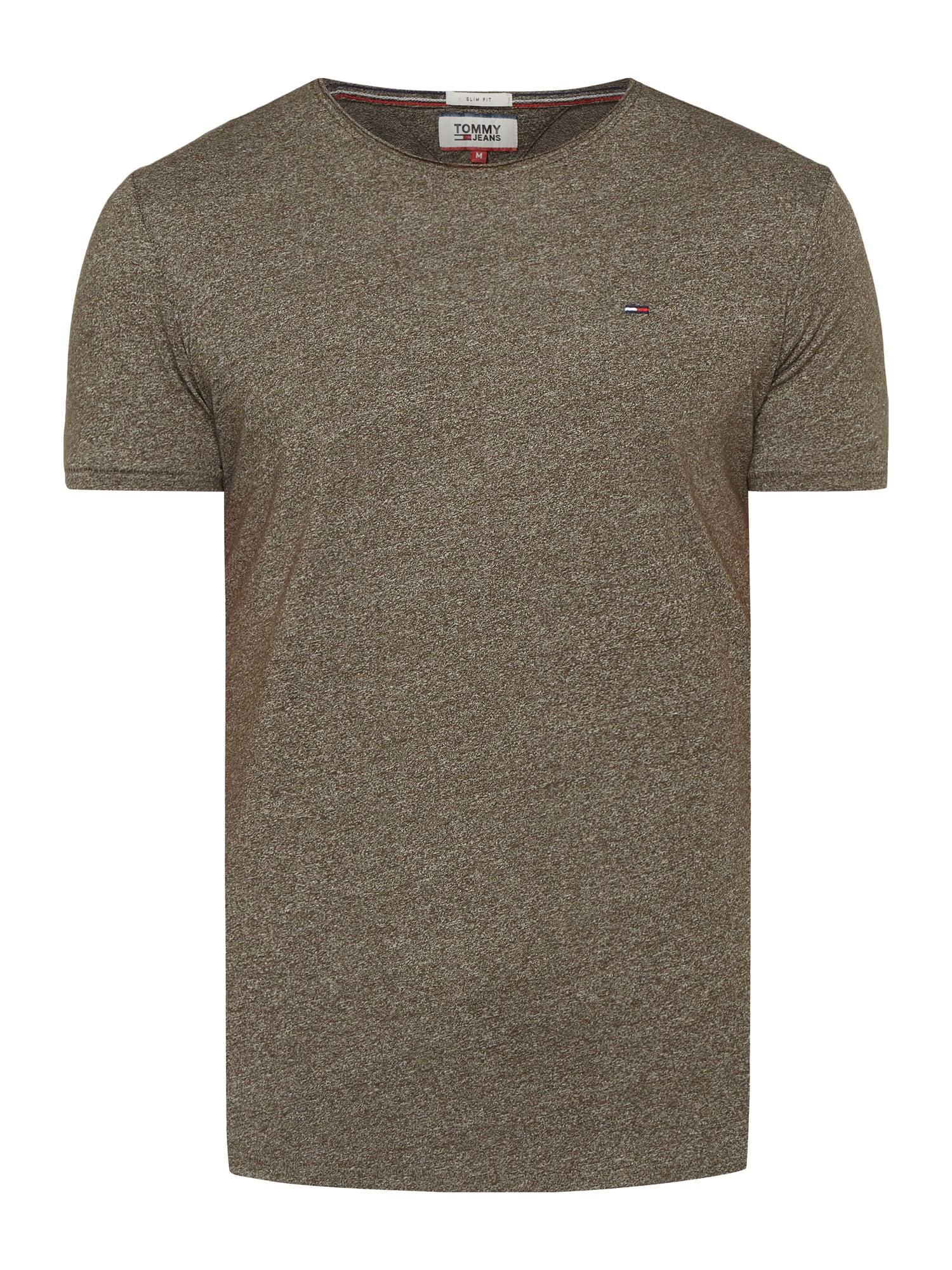Tommy Hilfiger Jeans T-Shirt mit Logo-Stickerei in Dunkelgrau oder Olivgrün für 19,99€ (statt 33€)