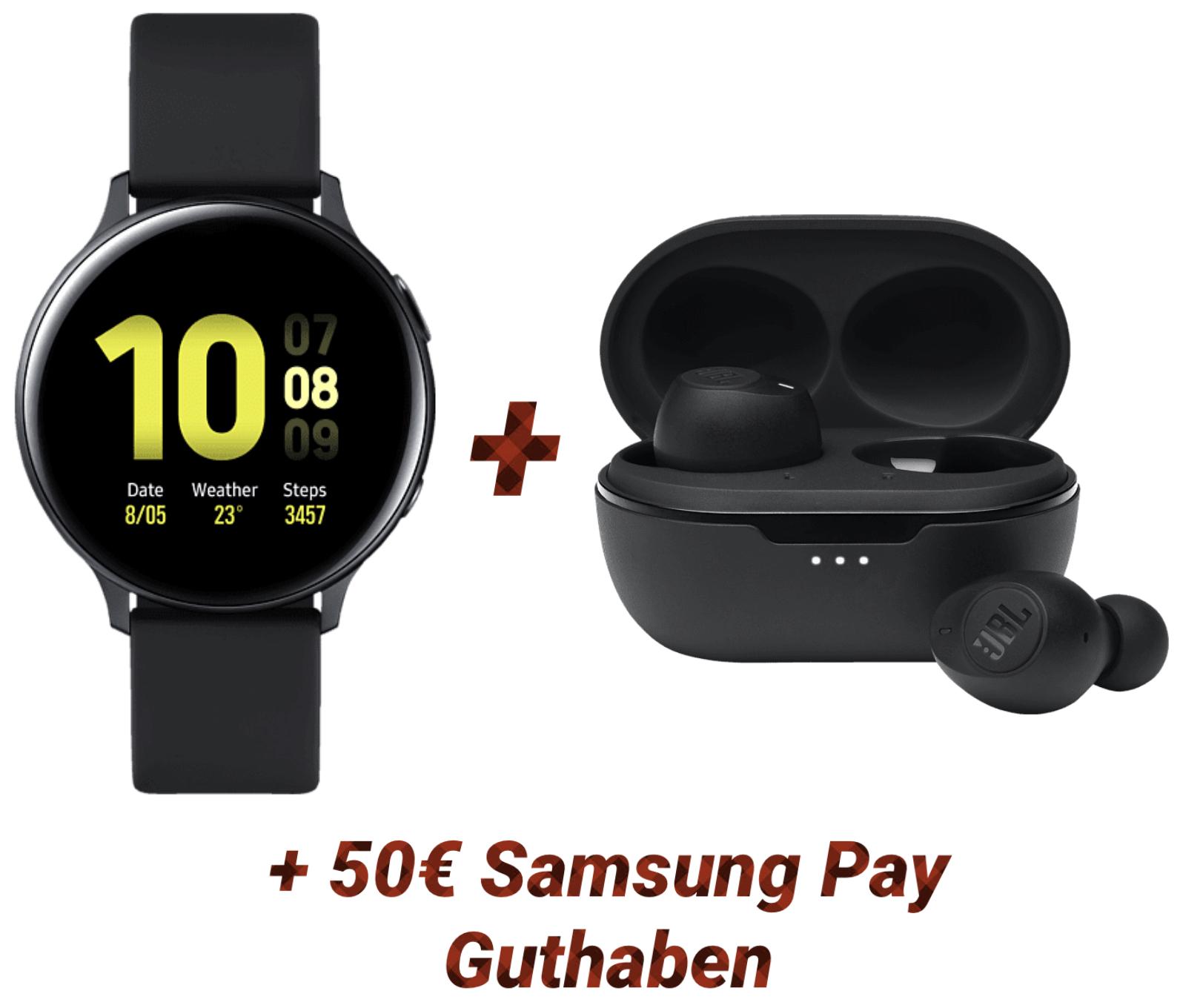 Samsung Galaxy Watch Active2 Aluminium 44mm + JBL Tune 115 TWS In-ear Kopfhörer + 50€ Samsung Pay Guthaben für 167€ inkl. Versandkosten