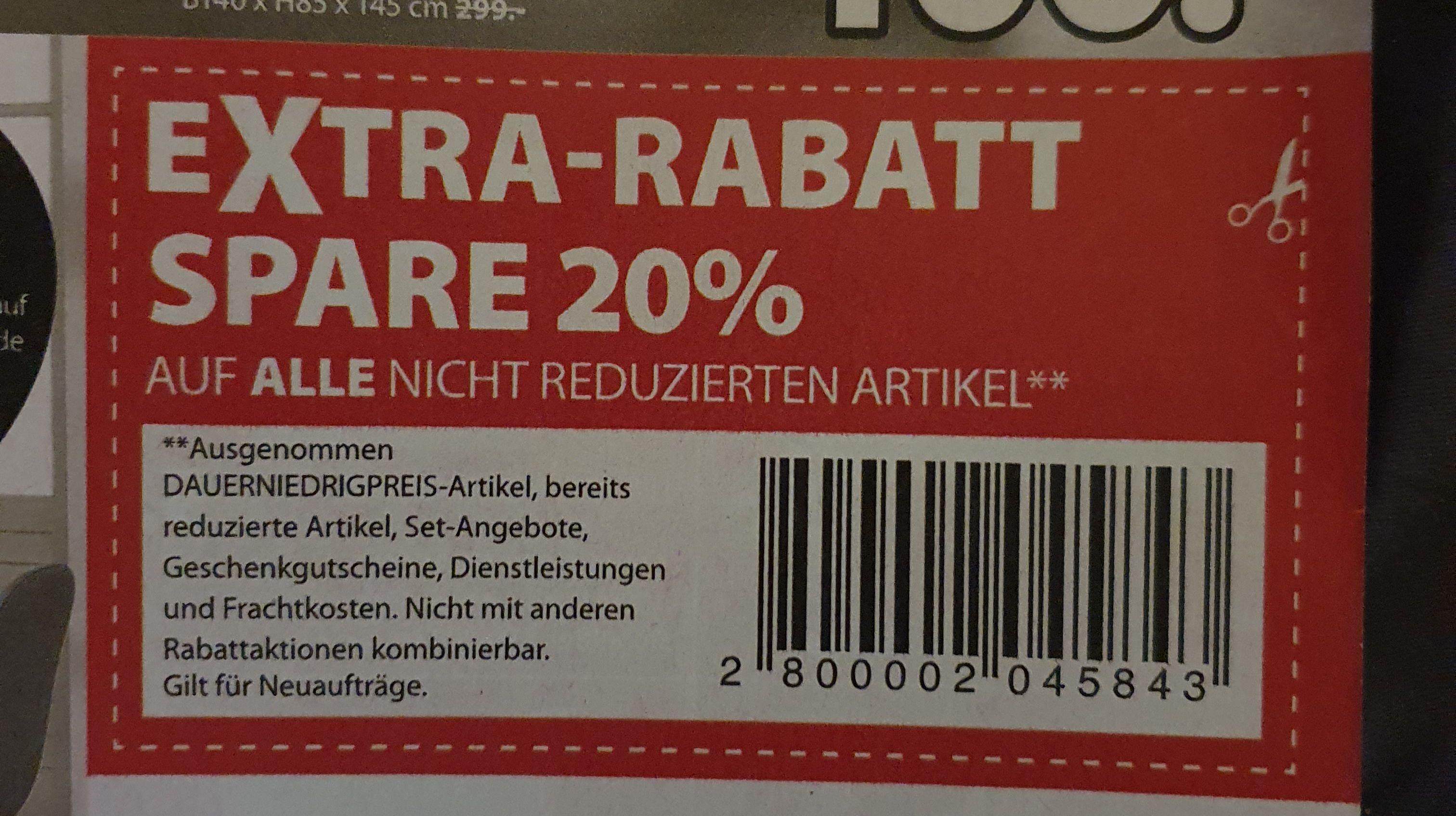 (Dänisches Bettenlager) 20% auf ALLE nicht reduzierten Artikel**
