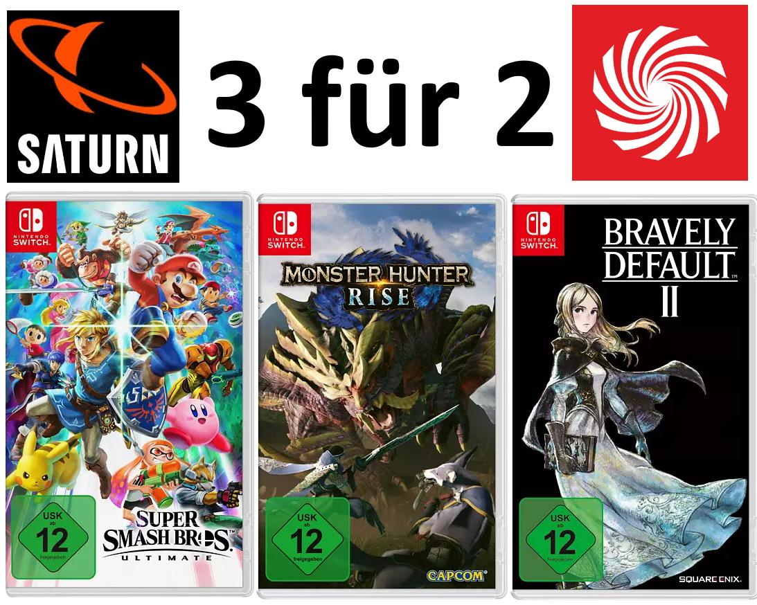 """3 für 2""-Aktion auf 11 Nintendo Switch-Spiele: z.B. Super Smash Bros. Ultimate + Monster Hunter: Rise + Bravely Default II"