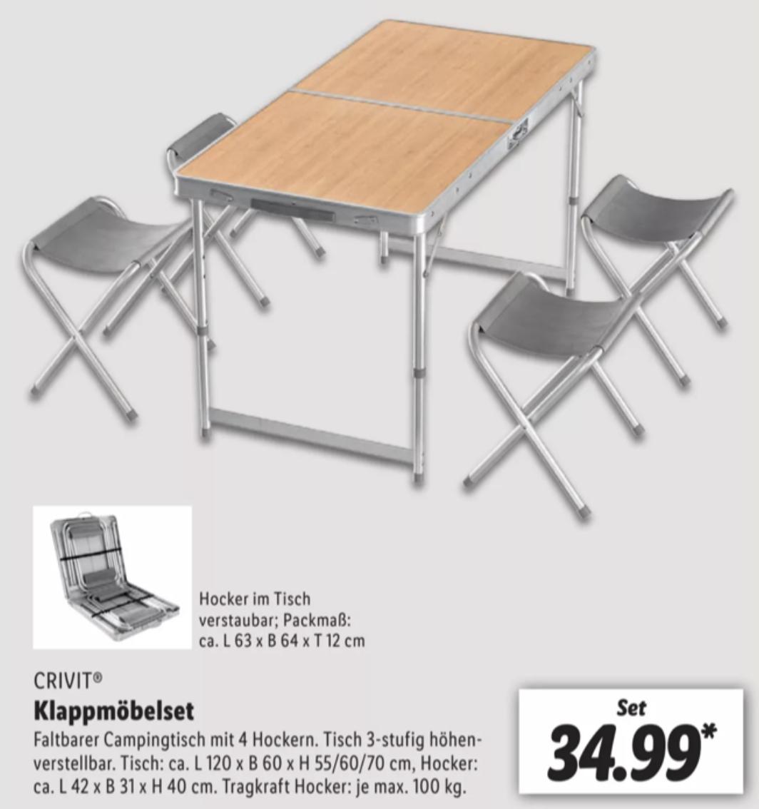 Lidl: Campingtisch höhenverstellbar mit 4 Hockern platzsparend im Tisch verstaubar für 34,99€