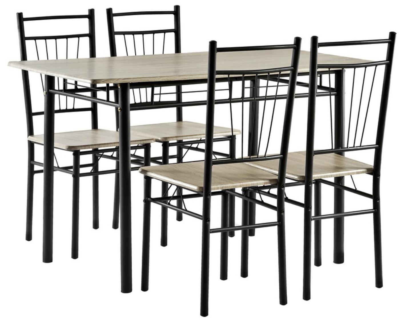 Esstisch + 4 Stühle Sonoma-Eiche Dekor o. Dekor weiß für je 39,94€ inkl. Versandkosten