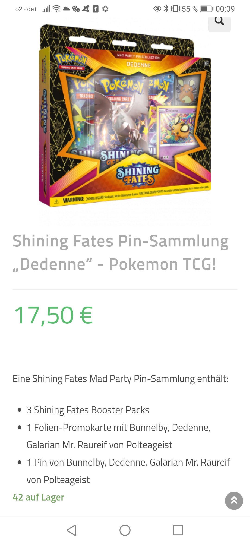 Pokémon Shining Fates, alle Pin Kollektionen verfügbar. (lohnt sich nur beim Kauf von mehreren Artikeln)