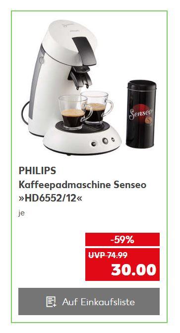 [Lokal - Kaufland Hamm und kürzlich eröffnete Filialen] PHILIPS Kaffeepadmaschine Senseo HD6552/12 inkl. Paddose für 30€ ab 6.Mai
