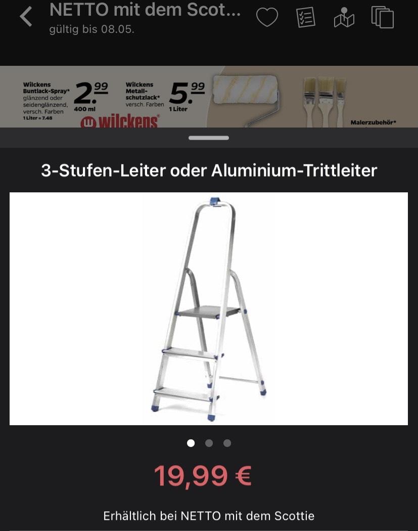 [Netto mit dem Scottie] 3-Stufen-Leiter aus Aluminium 135 cm Höhe 55 cm Plattform