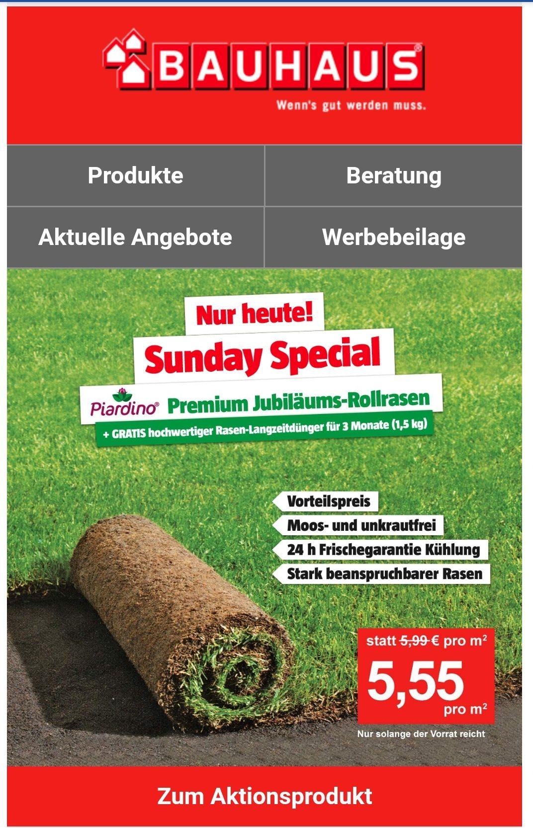 Piardino Premium Jubiläums-Rollrasen 50qm - inkl. gratis Rasen-Langzeitdünger 1,5 kg