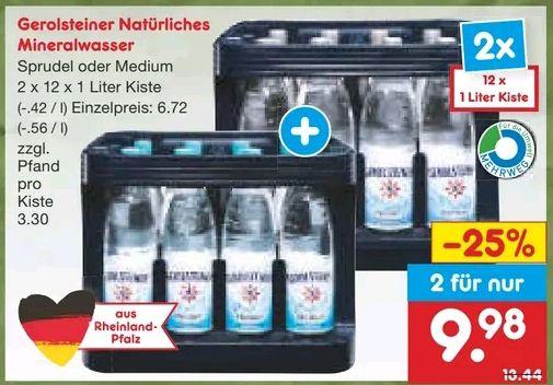 [Netto MD] 2x Gerolsteiner Sprudel oder Medium mit Coupon 7,98€ / regional: NRW, RLP