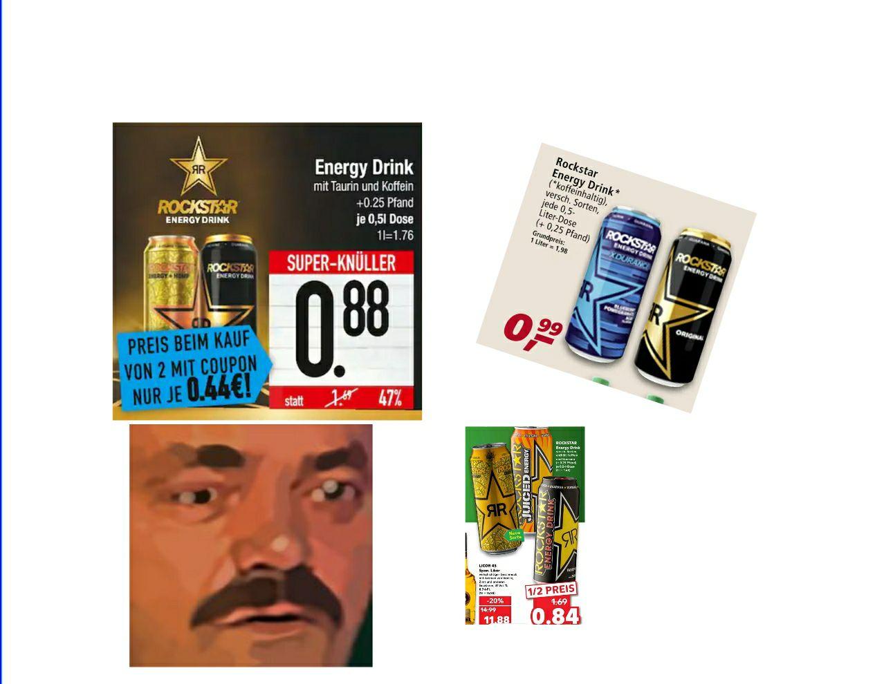 Energy Drink Angebote vom 03.05 - 08.05 z.B Rockstar Energy Drink 500ml verschiedene Sorten für 0.88€ mit Coupon bei Edeka für nur 0.44€