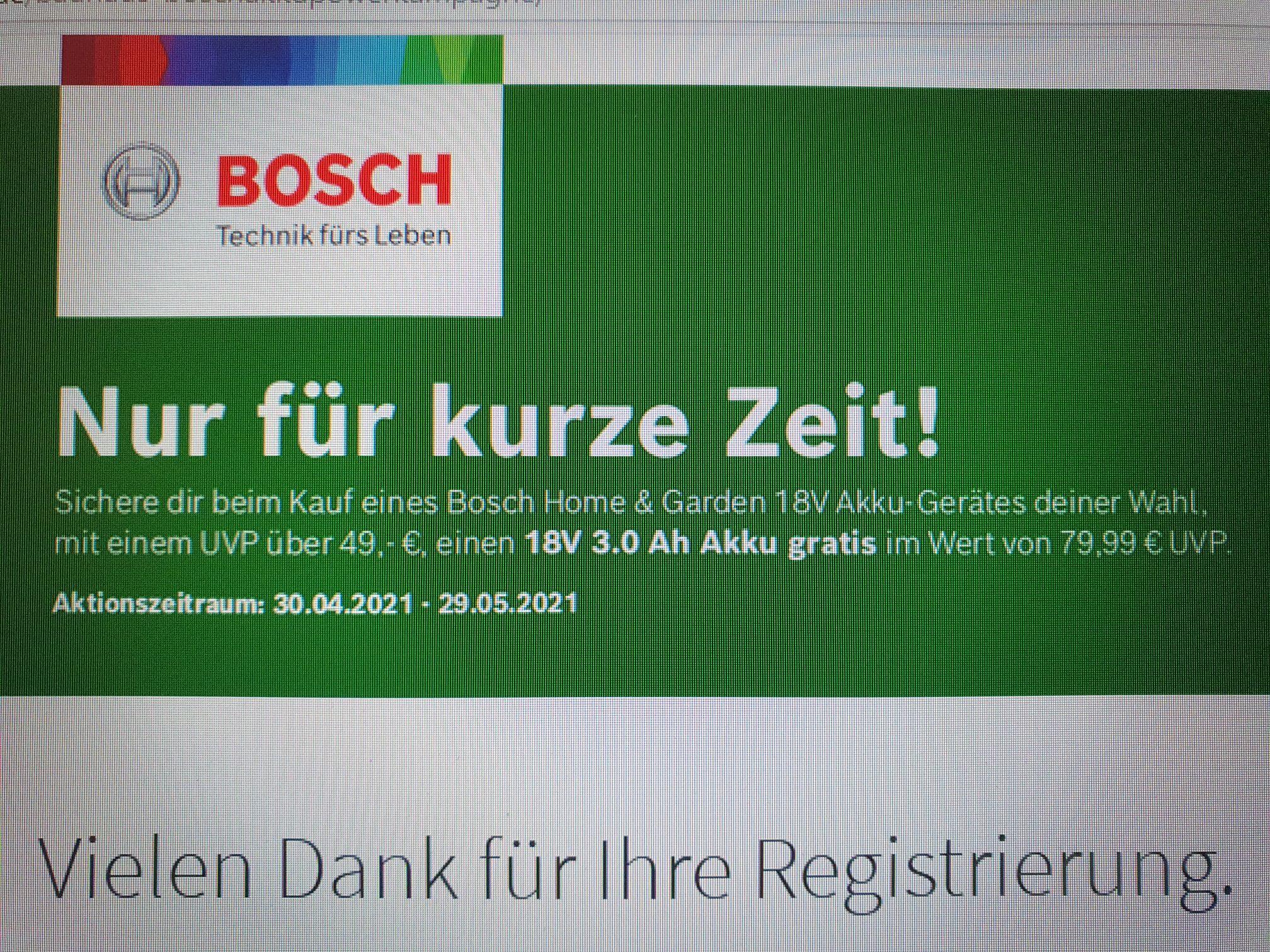 Bosch 18V 3.0 Ah Akku gratis (anstatt 79,99€ UVP)...