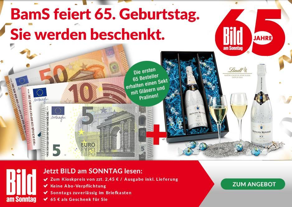 [Lesershop24] 4 Ausgaben BILD am Sonntag für 9,80 EUR mit 65 EUR Geldprämie - flexibel kündbar - 55,20 EUR Gewinn!