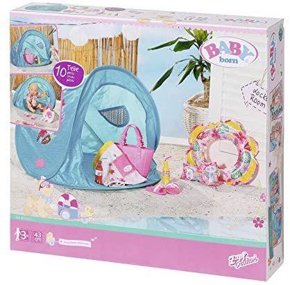Zapf Creation 829257 BABY born Holiday Strand Set Puppenzubehör, türkis/bunt, 43 cm [Amazon Marketplace]