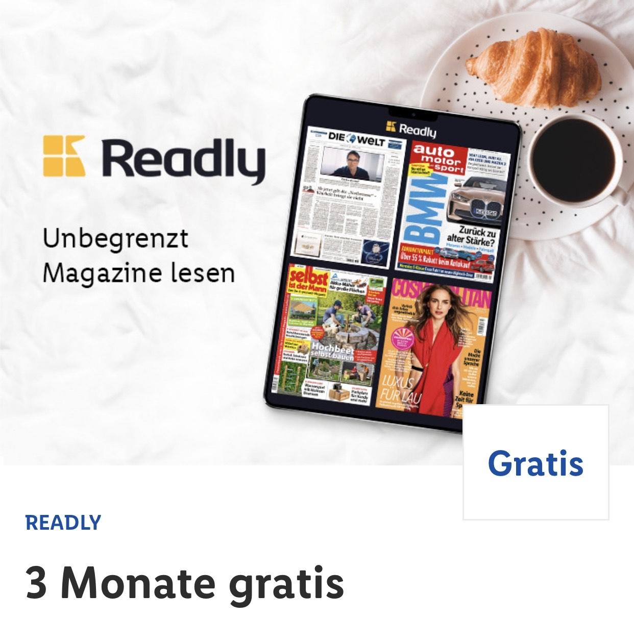 [Lidl] Readly 3 Monate Gratis! (Neukunden)