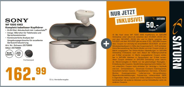 [Saturn] SONY WF-1000XM3, Earbuds, Ladeetui, In-ear, Kopfhörer + 50€ Coupon ab 152,99€ /SanDisk Micro SD 128GB für 12,-€