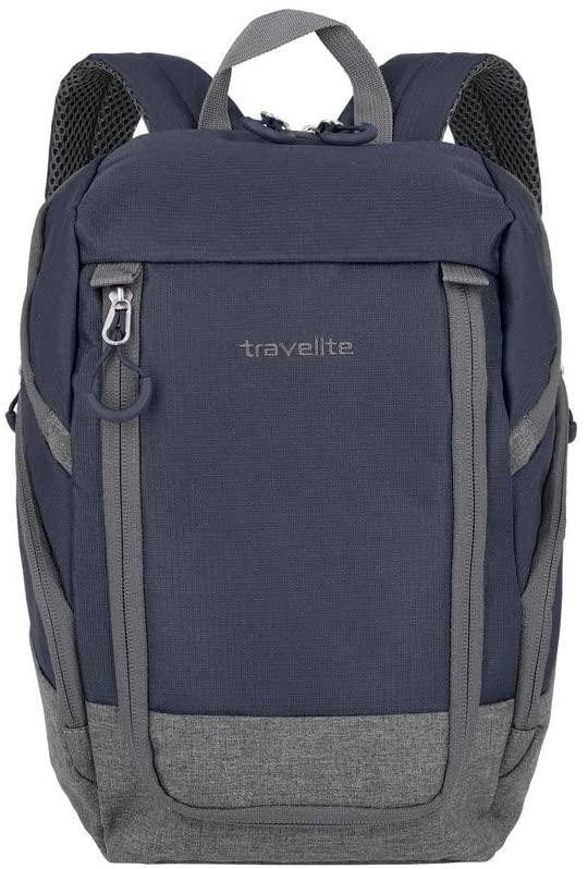 [Prime] travelite Handgepäck Rucksack für Reise, Freizeit und Sport, Gepäck Serie BASICS Daypack:Rucksack, 35 cm, 14 Liter, marine/grau