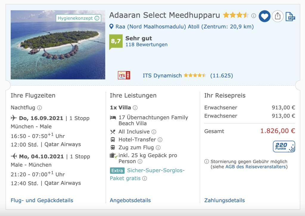17 Tage Malediven All-Inklusive inkl. Flüge im Adaaran Select Meedhupparu 913€ p.P.