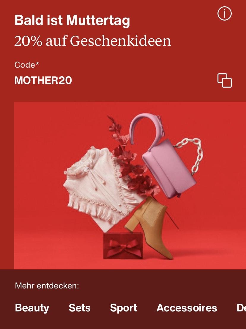20% Rabatt Zalando Muttertag App