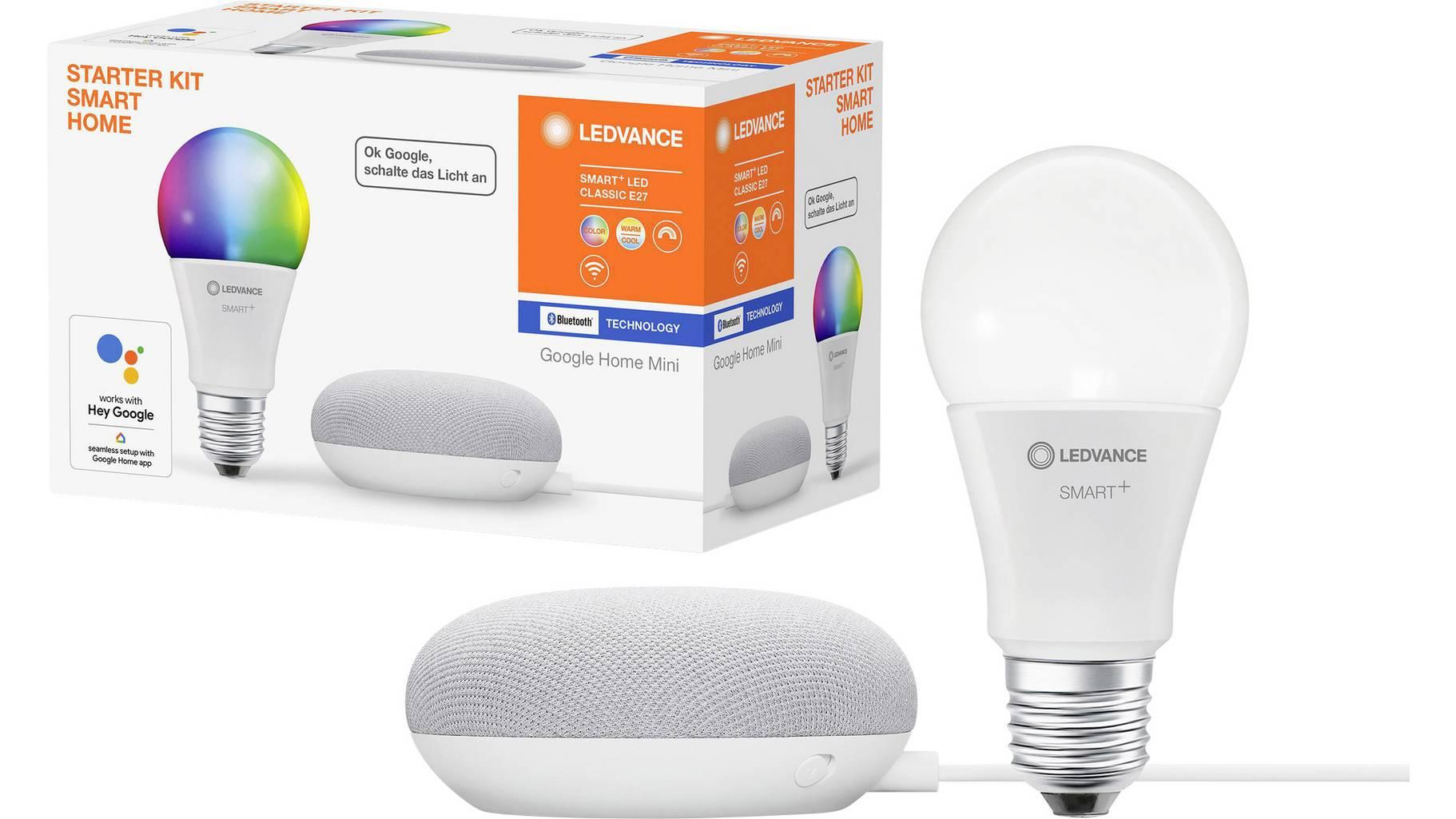 Mehrere Ledvance-Bundles: z.B. Ledvance Starter Kit Smart Home - Google Home Mini Kreide & Smart+ LED Classic E27