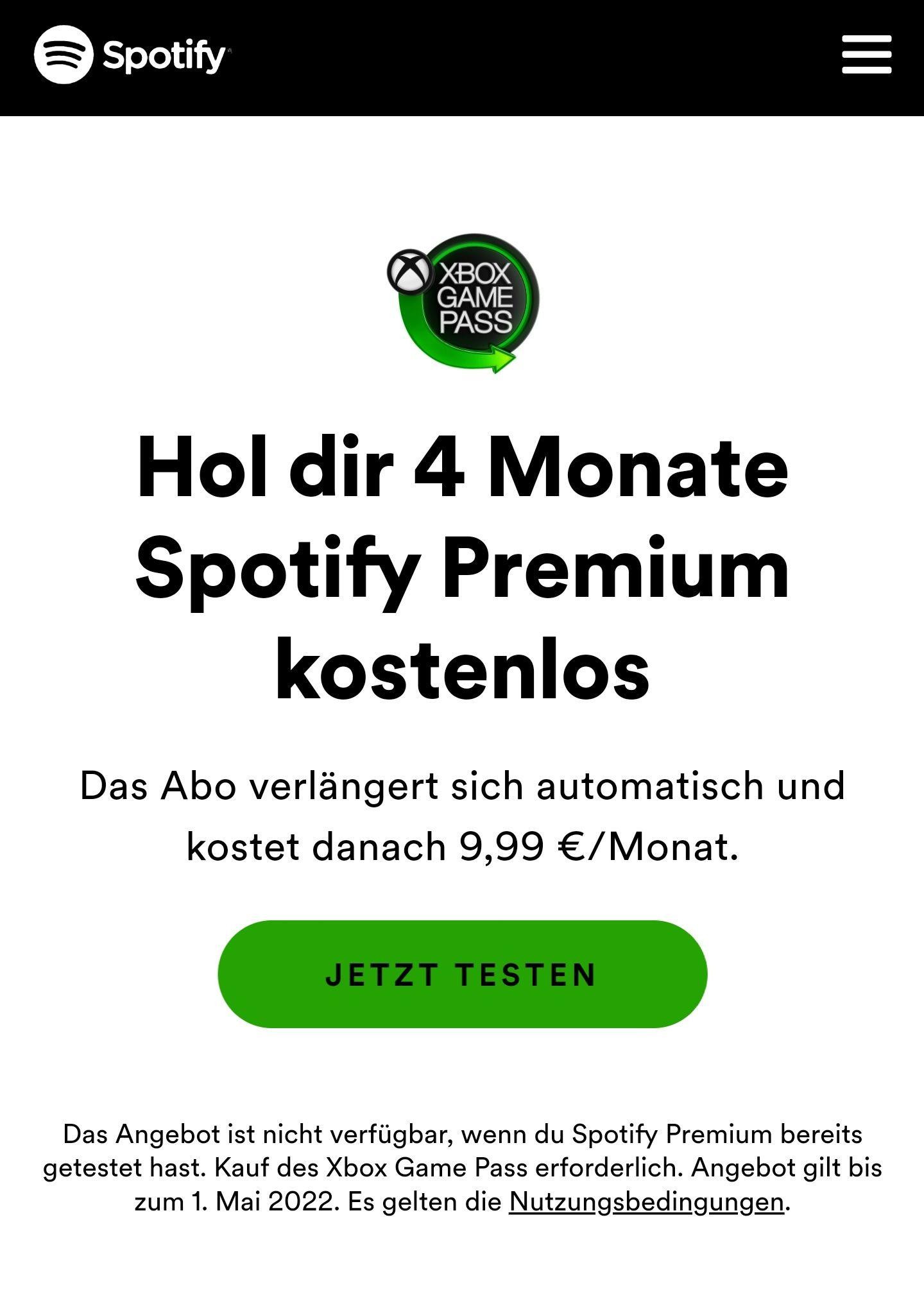 [Xbox Game Pass Ultimate] 4 Monate kostenlos Spotify Premium (Neukunden)