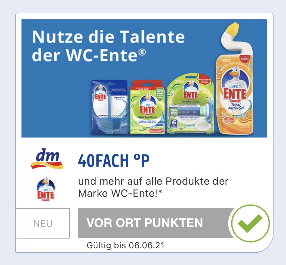 dm - 40fach Payback Punkte auf WC Ente Produkte und Colgate Total [evtl. personalisiert]
