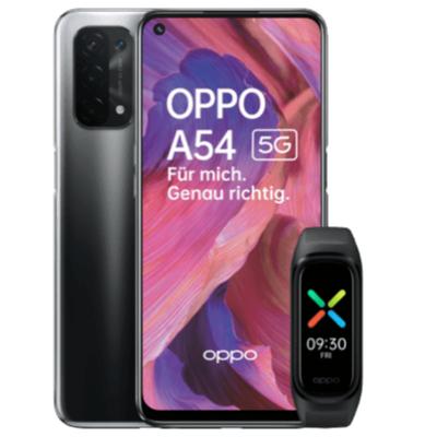 Oppo A54 5G 64GB + Oppo Band Sport für 1€ einmalig und 13,99€ monatlich im Blau Allnet L 5GB