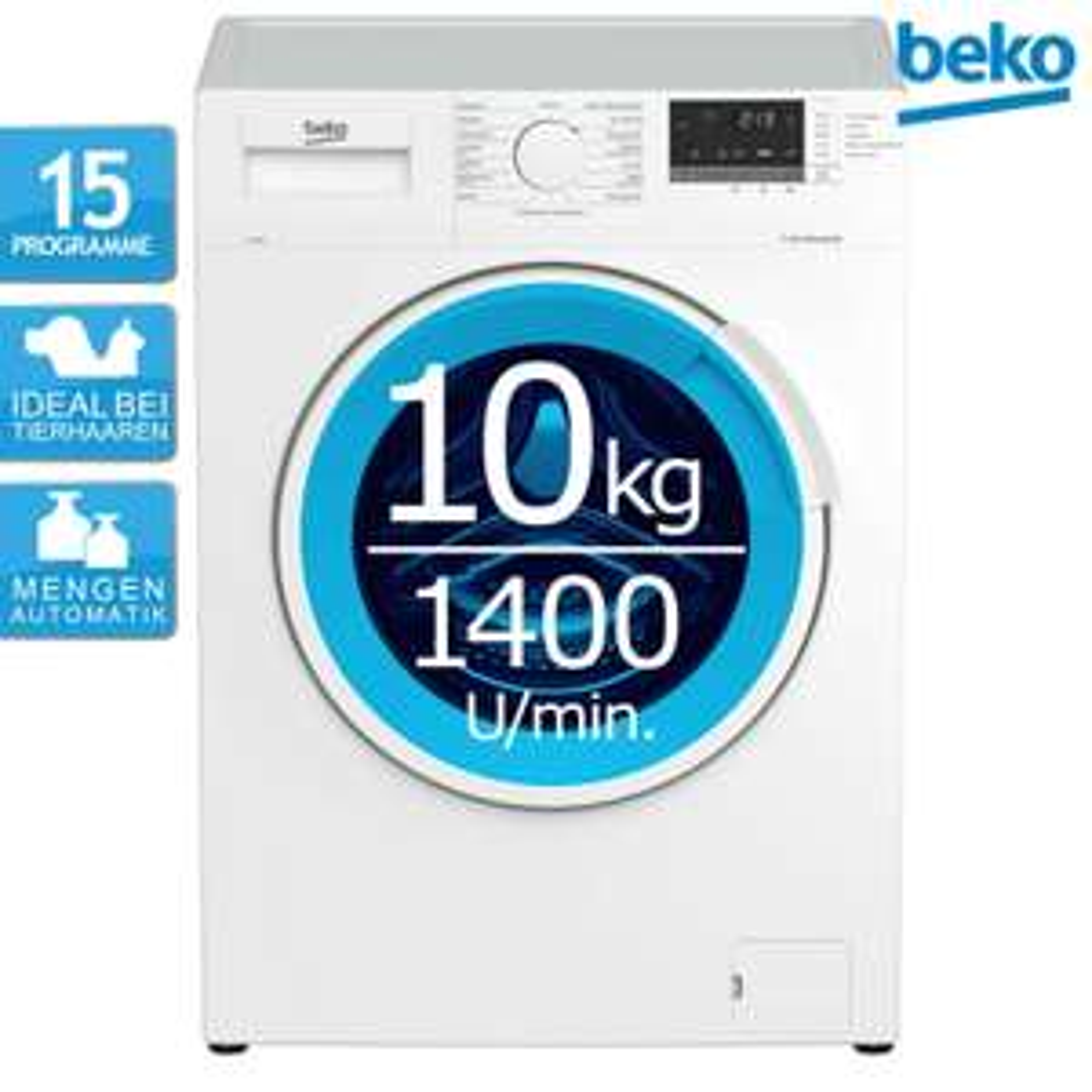 BEKO WMB101434LP1 10kg Waschmaschine (1400Upm, EEK B bzw. A+++ alt, AddXtra Nachlegefunktion, Mengenautomatik, 15 Programme)