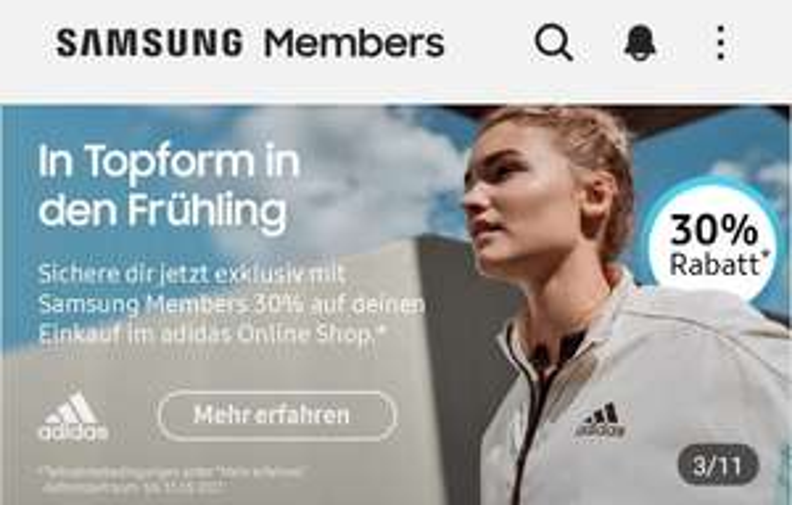 Adidas 30% auf Vollpreis artikel & +10 % Rabatt auf reduzierte Artikel Gutschein in der Samsung Members App