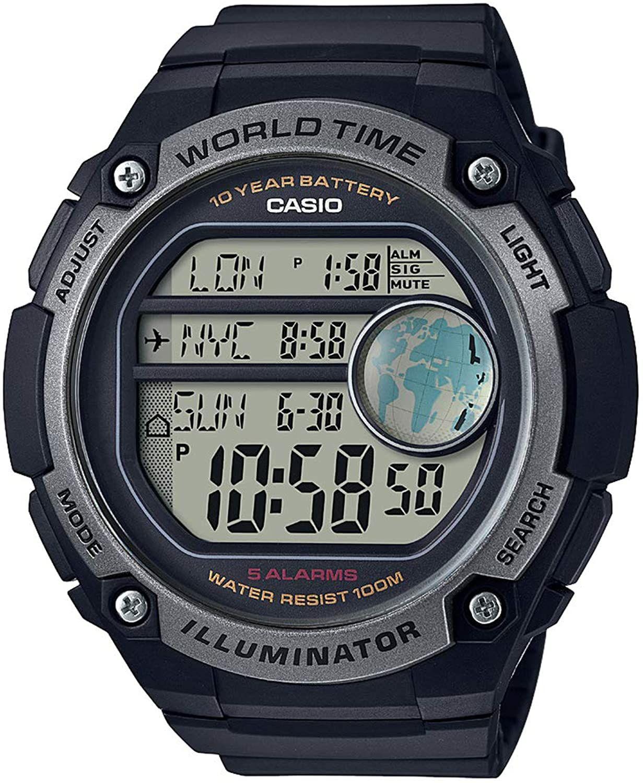 Casio Collection Digitaluhr (Kalender, LED-Beleuchtung, Alarm, Weltzeituhr, Countdown-Timer, Stoppfunktion, wasserdicht bis 10 bar)