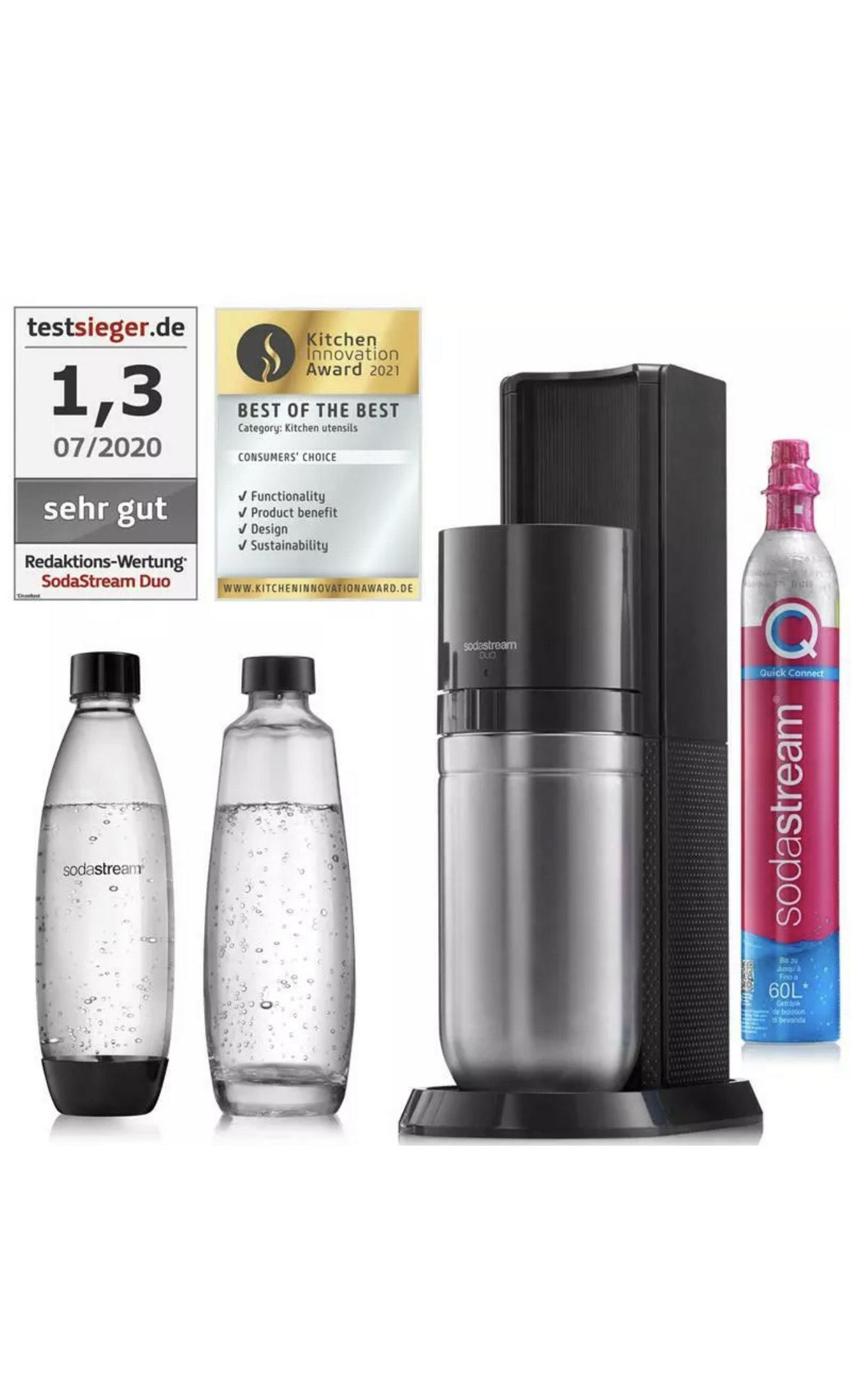 SodaStream Duo Wassersprudler Titan inkl. 1x Glaskaraffe, 1x Kunststoffflasche