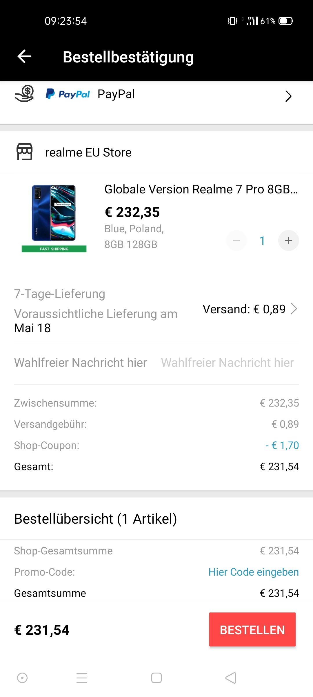 Realme 7 Pro 8/128GB, zollfrei, EU-Lager, 65W laden, AMOLED, SD720G, Stereo Lautsprecher, 64MP Sony-Sensor IMX 862