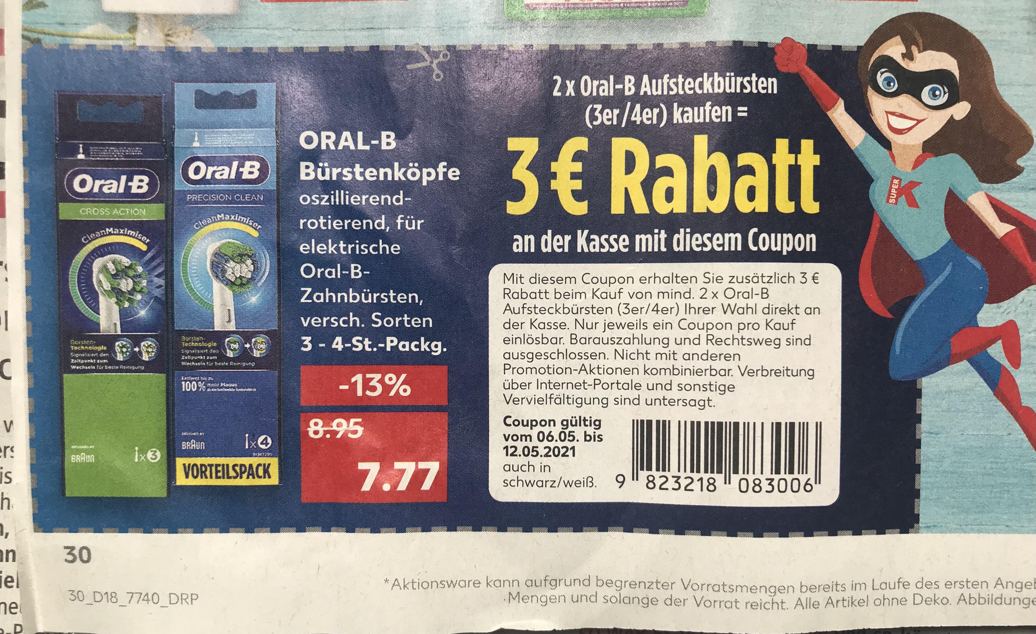 [Kaufland] 2x Oral-B Aufsteckbürsten 3er/4er + 3€ Rabattcoupon
