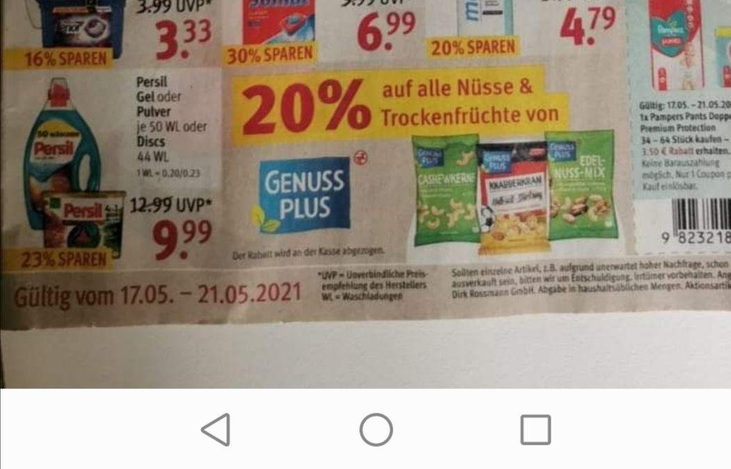 Bei Rossmann 20% auf alle Nüsse und Trockenfrüchte von Genuss Plus